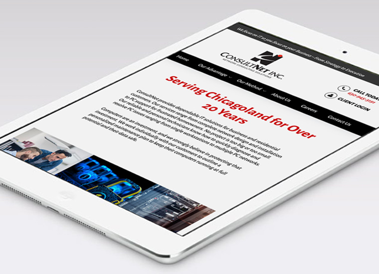 Gary Cole Design - ConsultNet Inc Website iPad