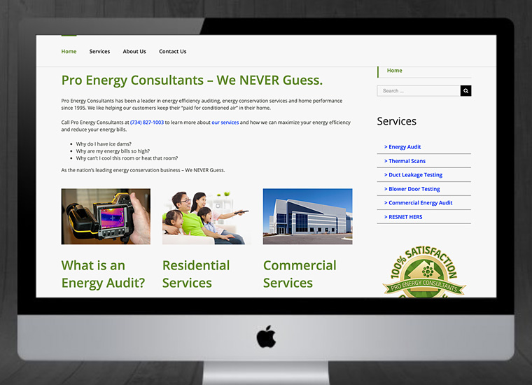 Gary Cole Design - Pro Energy Consultants Ann Arbor Website
